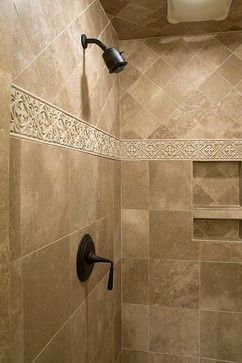 That accent tile is amazing and I love how they did the inserts in the shower.