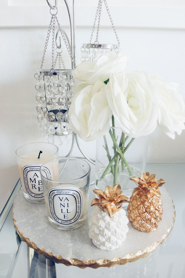 Blondie in the City Home Decor   Marble Platter from @zgallerie   Pineapple Decor, Diptyque Candles, White and Gold Decor