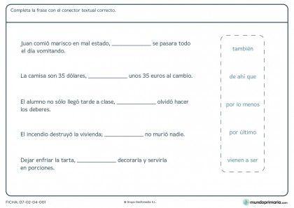 Ficha de conector textual para primaria