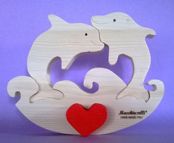 Puzzle animali delfini in legno puzzle in legno puzzle cuore innamorati san valentino regalo coppia delfini innamorati (Cod. PUZ009)