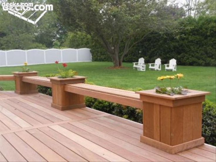 decks with planters and benches built in | This bench design suspends a bench in between hardwood planter boxes.