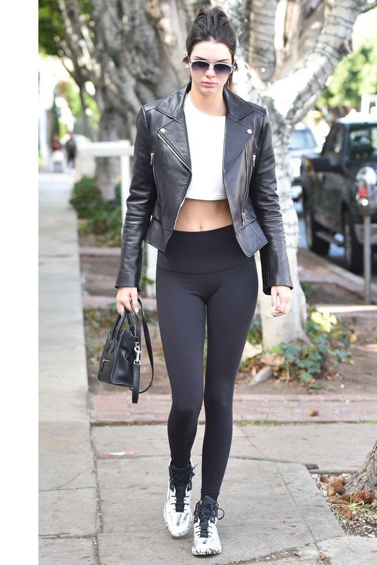 194d205935c24b Kendall Jenner Style Leather Moto Jacket White Crop Top Black Leggings |  BodyRenn Crop Til You Drop White Top | Urban Style Street Style Inspo  Kendall ...