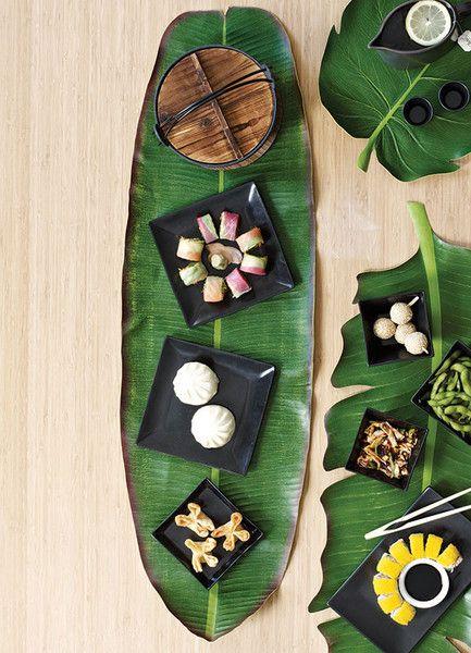 BaliHai Banana Leaf Table Runner by Design Ideas.