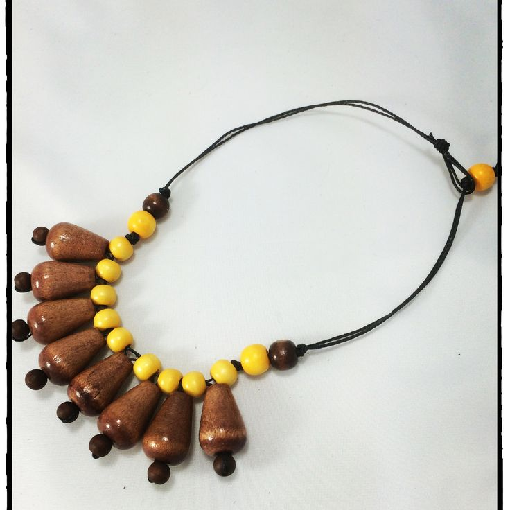 Vintage caramel tear drop and mustard wood bead necklace ~ www.dony-maree.com.au