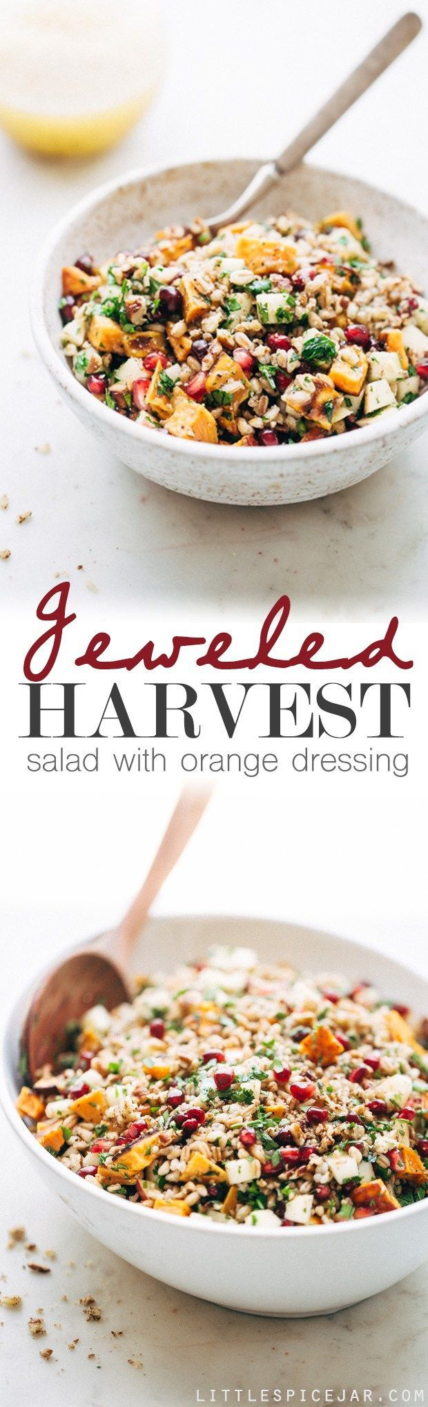 Jeweled Harvest Salad with Orange Dressing - A simple salad with tons of topping possibilities, drizzled with a simple orange dressing that makes the whole thing pop! #harvestsalad #salad #autumnsalad #ad | http://Littlespicejar.com