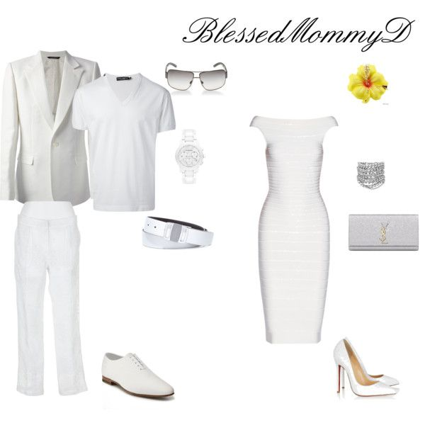 """Couples Outfits"" by blessedmommyd on Polyvore  White Party Attire for Couples,   Men's Outfit, Men's Wear, Men's Attire"