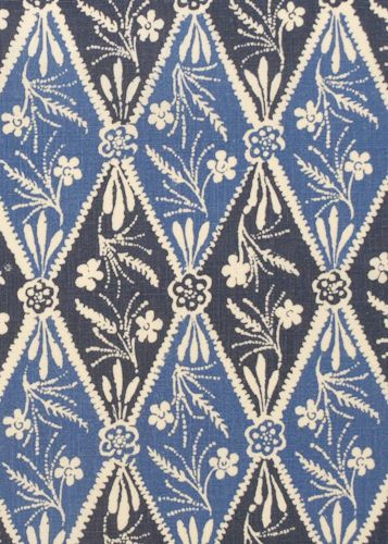 Collection:Batik Pattern: Diamond Style No: 2941 Color: Indigo Content: 100% linen Width: 54 in Repeat: 28 in