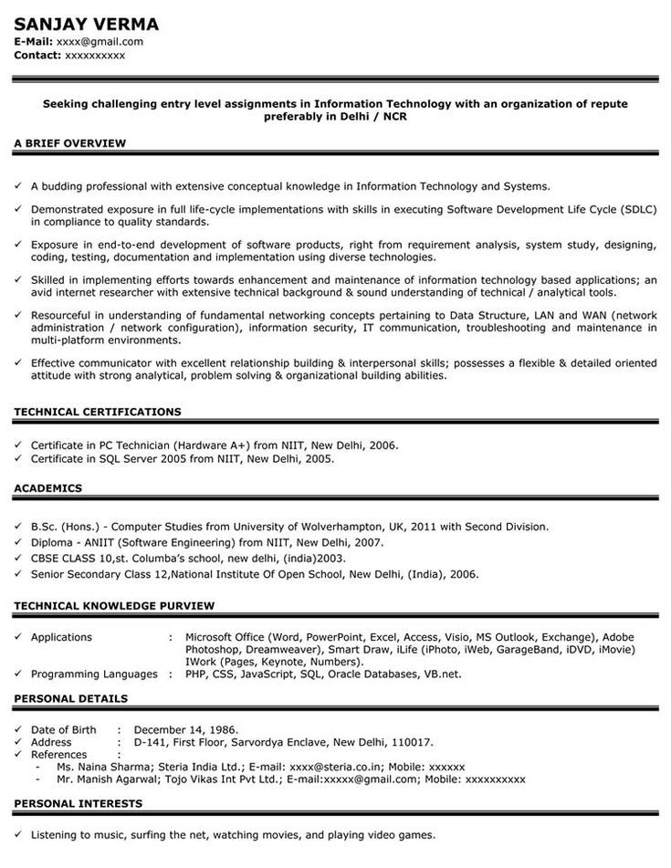 25+ ide terbaik Resume format for freshers di Pinterest - resume format for bca freshers