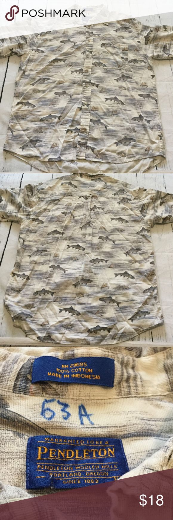 """Pendleton Casual Fish Shirt Measures 24"""" across from armpit to armpit and is 30"""" in length in front and 31 1/2"""" in length in back. In good pre-loved condition. Very roomy Large. No stains or tears. Smoke free home. Pendleton Shirts Casual Button Down Shirts"""