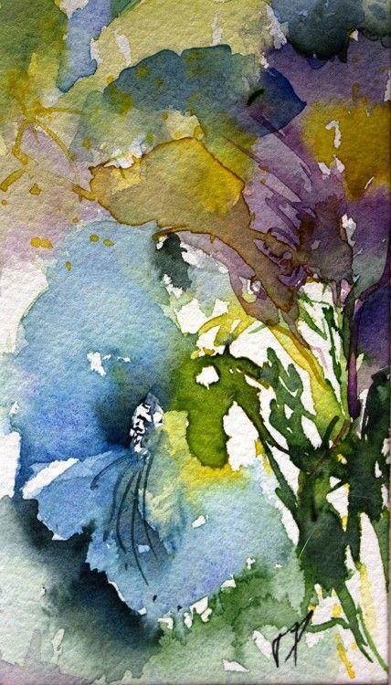 Aquarelle de Coquelicots dans un champs de fleurs d'-ete ...