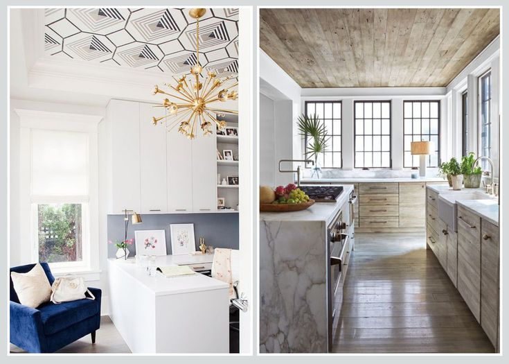 CEILING - Use geometric wallpaper to highlight your homes architectural features, or create an industrial look using faux wood wallpaper (in case you're worried the weight of real timber will cause the ceiling to cave in!).