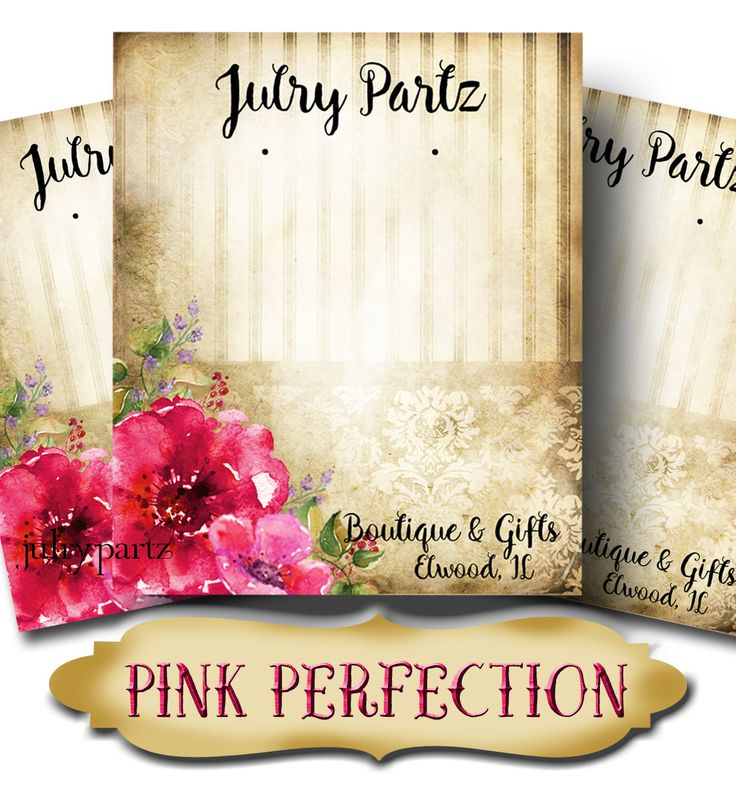 PINK PERFECTION•Custom Tags•Labels•Earring Display•Clothing Tags•Custom Hang Tags•Boutique Card•Tags•Custom Tags•Custom Labels by JulryPartZ on Etsy