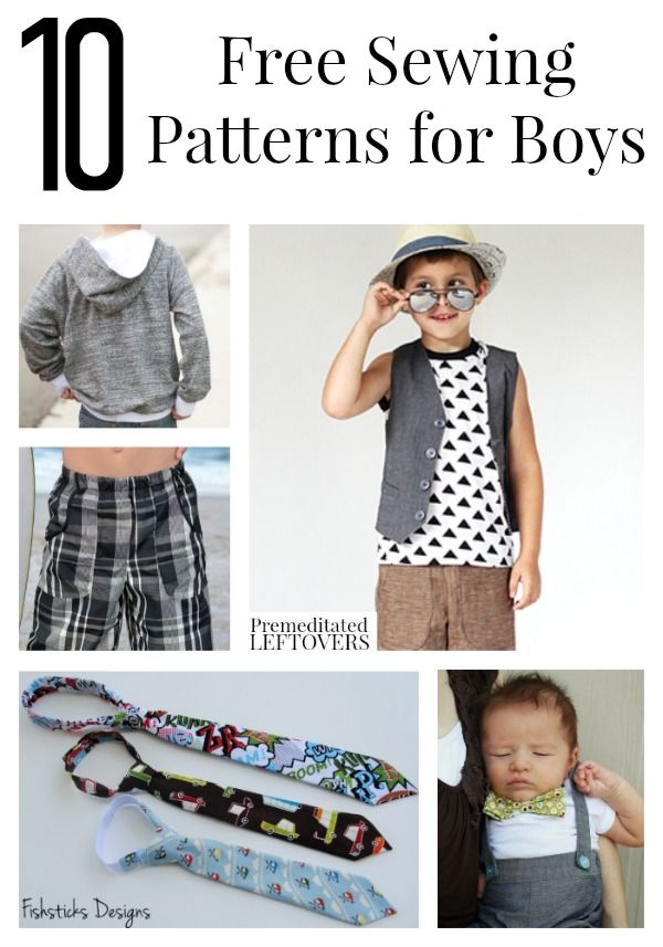 10 Free Sewing Patterns for Boys including free patterns for hoodies, board shorts, ties, hats and more for boys of all ages.