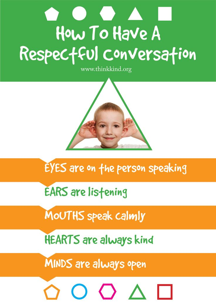 Respectful Conversations Classroom poster. Download the whole set for free: http://www.thinkkind.org/positive-skills-classroom-poster-set/