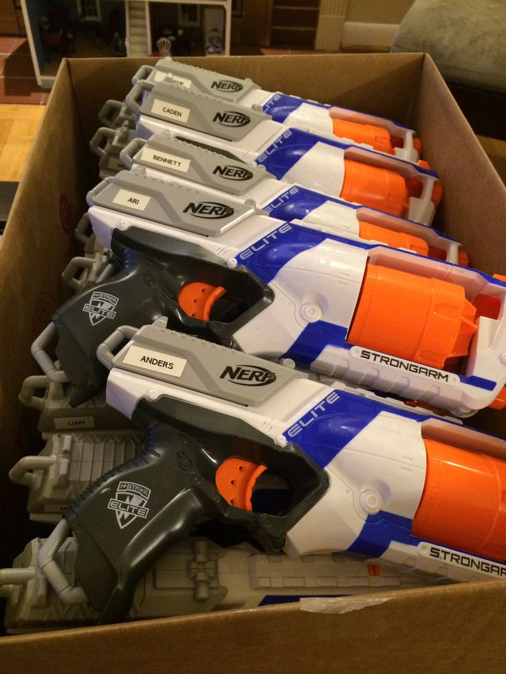Nerf guns labeled with kids' names to cut down on fighting! I bought the guns on sale at Target so they came out to $7 each.  The kids got to take their guns home.