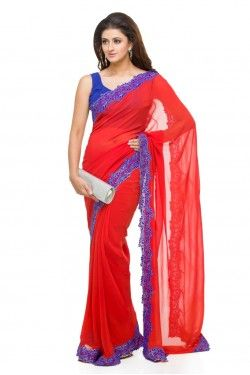 Red Saree with Lace Border  #BridesmaidSarees | Shop 3 or more and get 10% discount Shop 5 or more and get 20% discount Shop 10 or more and get 30% discount