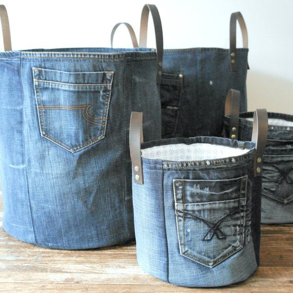 Large storage basket made of the most beautiful parts of an old jeans! This mult...