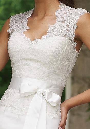 Mermaid Duliciana Satin Open Back Bodice Lace Queen Anne Neckline Chapel Length Train Wedding Dress #ShopSimple