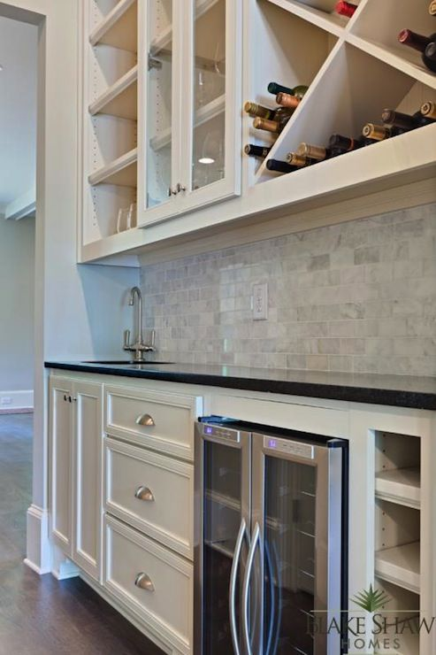 Blake Shaw Homes - kitchens - butlers pantry, walk-through butlers pantry, adjoining butlers pantry, black counter, black countertop, hardwo...