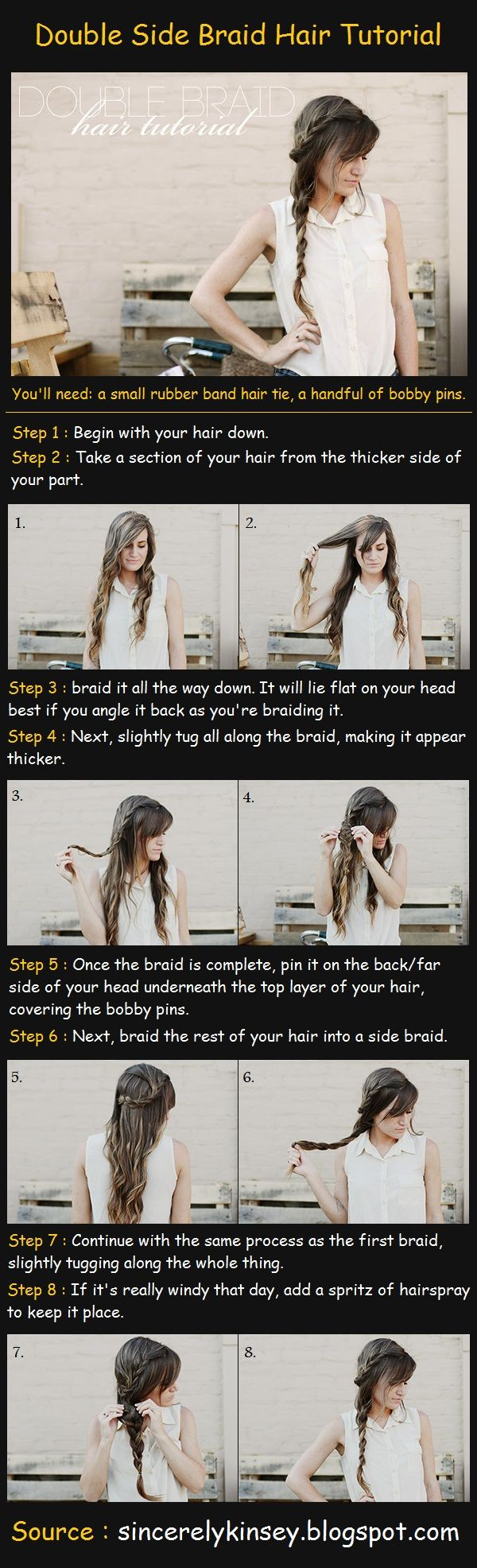 Double Side Braid Hair Tutorial: Braids Tutorials, Beautiful Tutorials, Long Hair, Longer Hair, Double Braids, Hair Style, Double Side, Side Braids, Braids Hair Tutorials