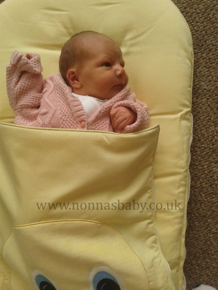 """Little Réidhe Looks Cute in Her Dainty Duckling Mat!!! Mum Deirdre told Nonna: """"Baby Réidhe loves her nap mat. Wont sleep in her moses basket without it. Great invention :-)"""" Nonna is happy to hear the mat has been such a success!"""
