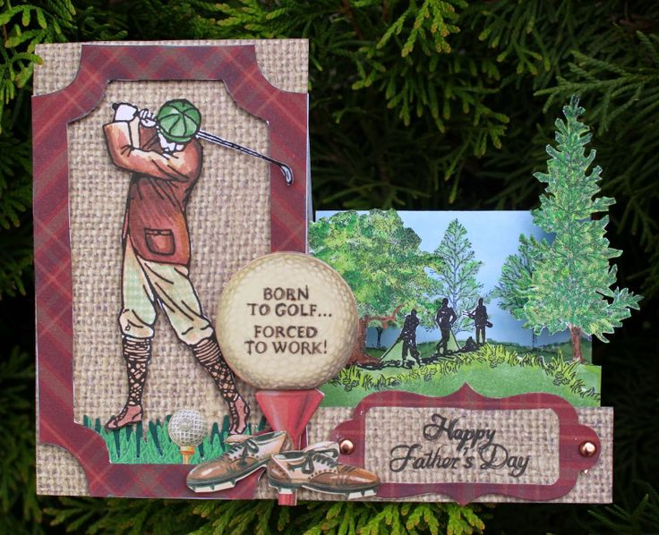 Cool Step Card Tutorial using Crafty Secrets Golf Time  Digital Stamp Set by Elizabeth Lincoln who shows step by step photos and template she created. The clear set sold out and the new Digital 16 Piece Set has been revised and now includes a golf crown, a new heart and all the images are bigger and better! Trees are from Stampin Up but watch for a New Tree Digital Set from Crafty Secrets this Summer.
