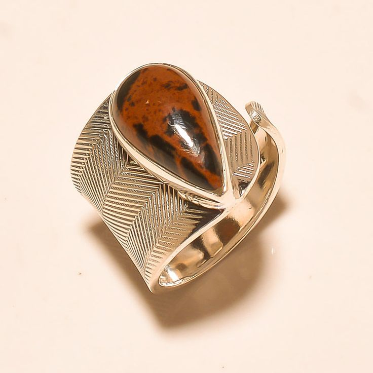 92.5% SOLID STERLING SILVER BEAUTIFUL JASPER LOVELY GIFTED RING (Adjustable)  #Handmade