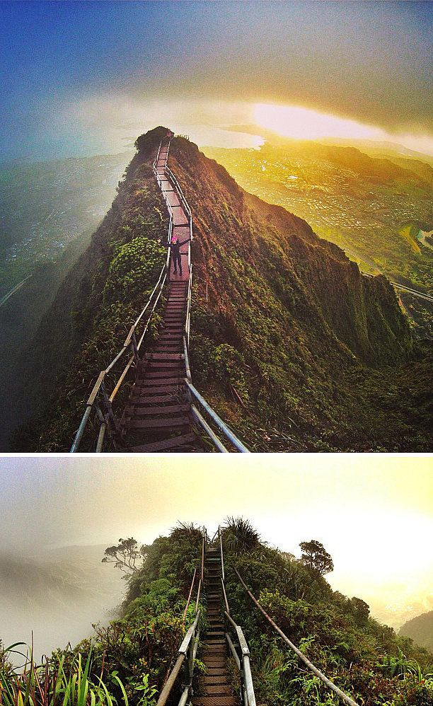 "Haiku Stairs, más conocidas como ""Stairway to Heaven"", en Oahu, Hawaii. 3.922 escalones hasta la cima."