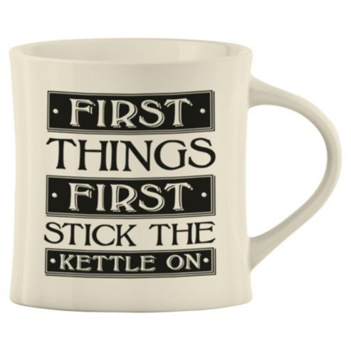 Buy Oversized Stoneware Mug, First Things First Put The Kettle On from our Mugs & Cups range - Tesco.com