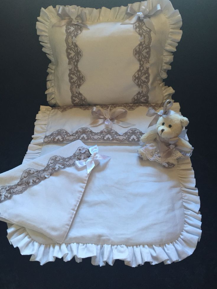 Baby Pram Pillow All White And Grey Hart Lace Pram Set Matching Quilt And
