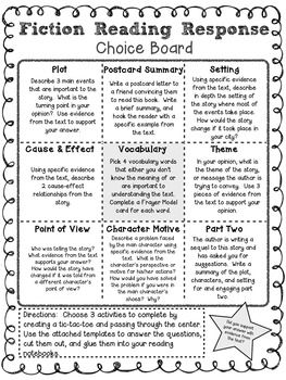 96 best learning menus and choice boards images on pinterest fiction reading response choice board pronofoot35fo Choice Image