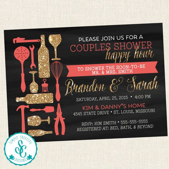 Bridal Shower Invitation   Couples Happy Hour by SimplyCreativeMel