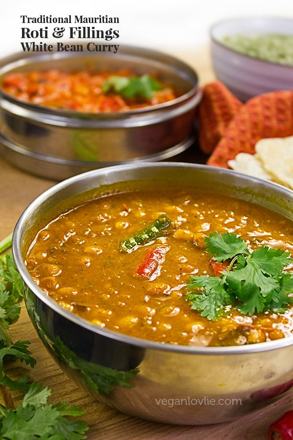 Traditional white bean curry that is served with the Mauritian roti — a popular street food in Mauritius.
