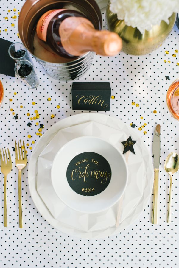 Fancy black and white Kate Spade New Years dinner party.