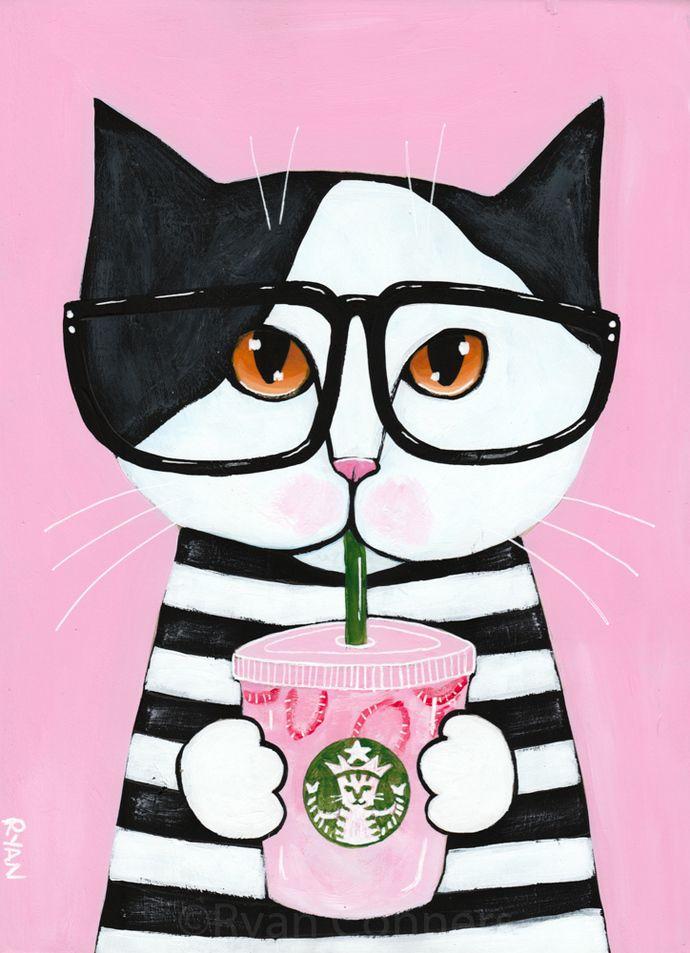 scottish fold cat  art PRINT 8x10 coffee  animals gift new modern