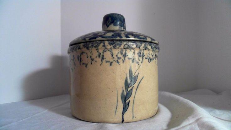 VINTAGE ROBINSON RANSBOTTOM SPONGE POTTERY ROSEVILLE LOW JAR WITH LID 1 PINT