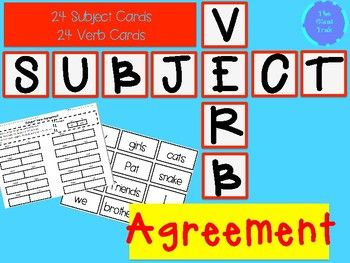 Subject Verb Agreement Activity-Make a subject pile of cards and a verb pile of cards-Flip a subject card over and write it in the subject box on recording sheet-Flip a verb card over and write it in the verb box on the recording sheet-Write the verb so that is agrees with the subject-Read the subject and verb together and check to make sure it agrees-Repeat!Subject Verb Word Sort-Make a pile with the words-Flip the card over and decide if it is a subject or verb-Write the word in the…