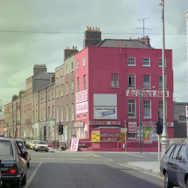 Red Corner Shop, Synnott Place and Dorset Street. Since restored.