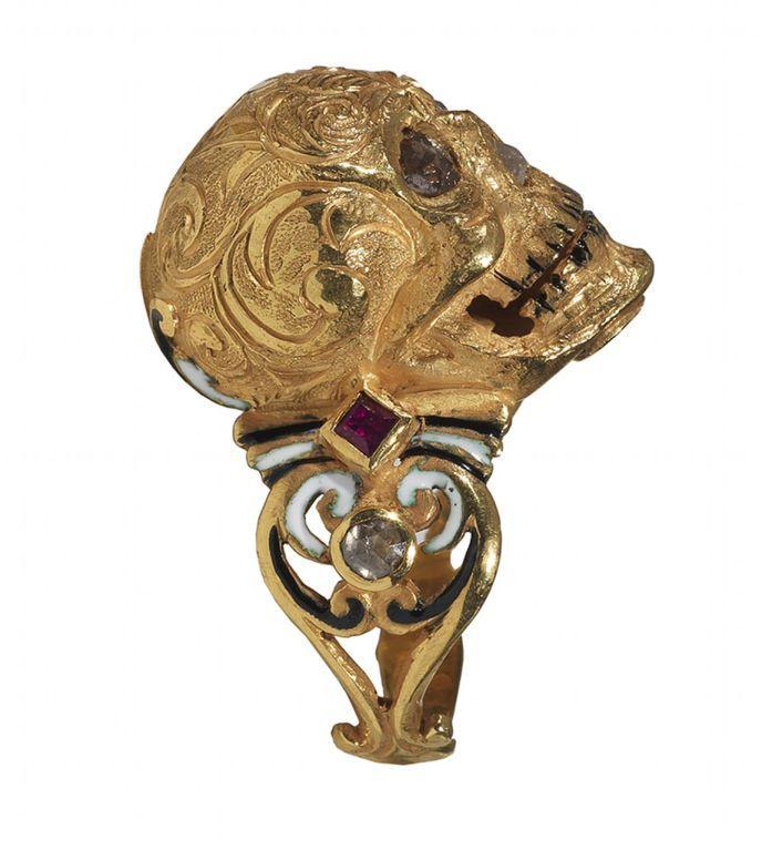 Enamel Ruby Diamond Gold Skull Ring via 1st Dibs