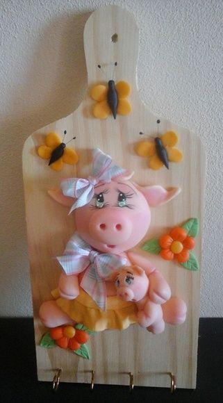 Porta Chaves Porquinha em Biscuit!