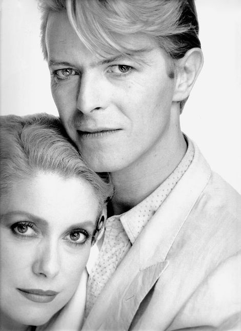 Not Credited, Catherine Deneuve and David Bowie promotional shot for 'The Hunger' on ArtStack #not-credited #art