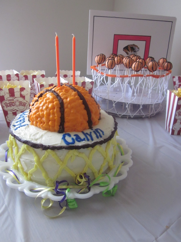 Basketball Birthday cake and darling cake balls for Calvin's 2nd Birthday!