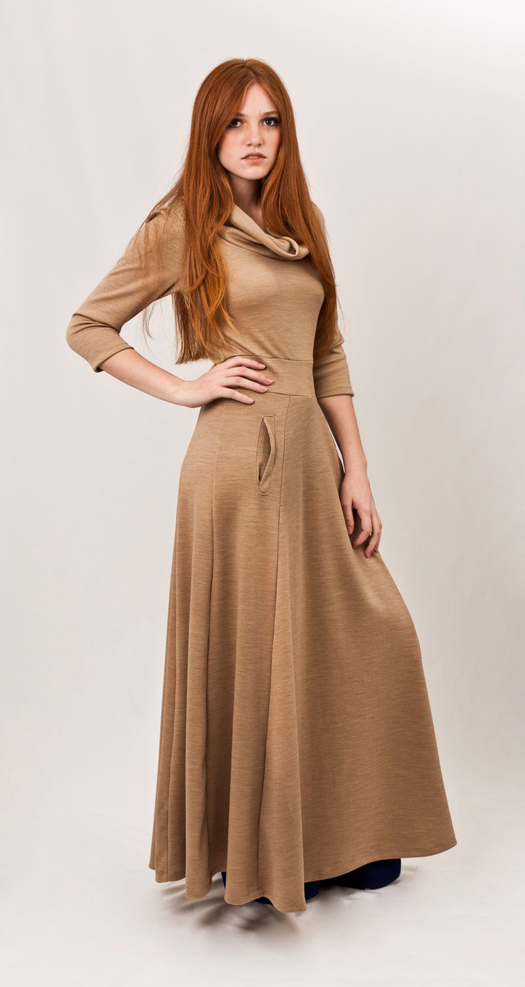 Camel maxi dress, wool Knit dress, cut waistband, long half circle skirt, turtle neck. $160.00, via Etsy.