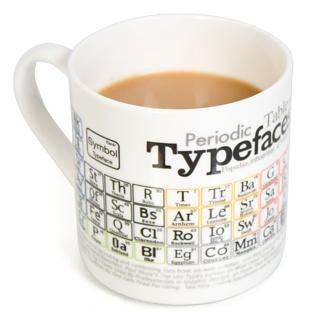 Typefaces (fonts) mug. A graphic designer's dream coffee mug!