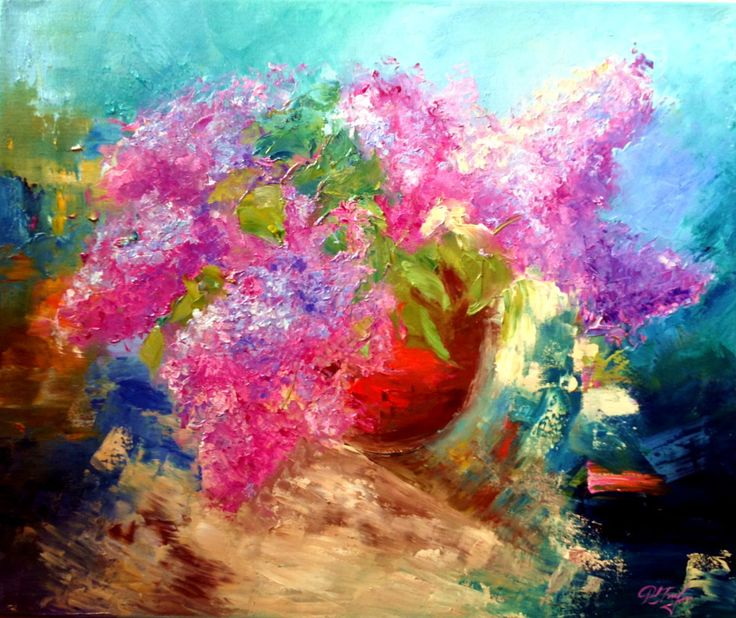 FINEARTSEEN - View Lilac by Alena Rumak. A beautiful original oil painting of flowers, full of colour and vibrancy. Available on FineArtSeen - The Home Of Original Art. Enjoy Free Delivery with every order. << Pin For Later >>