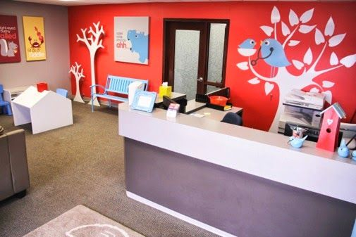 pediatric clinic waiting room decor   Blue bench from Tree Top Nursery, wooden trees and canvas wrapped ...
