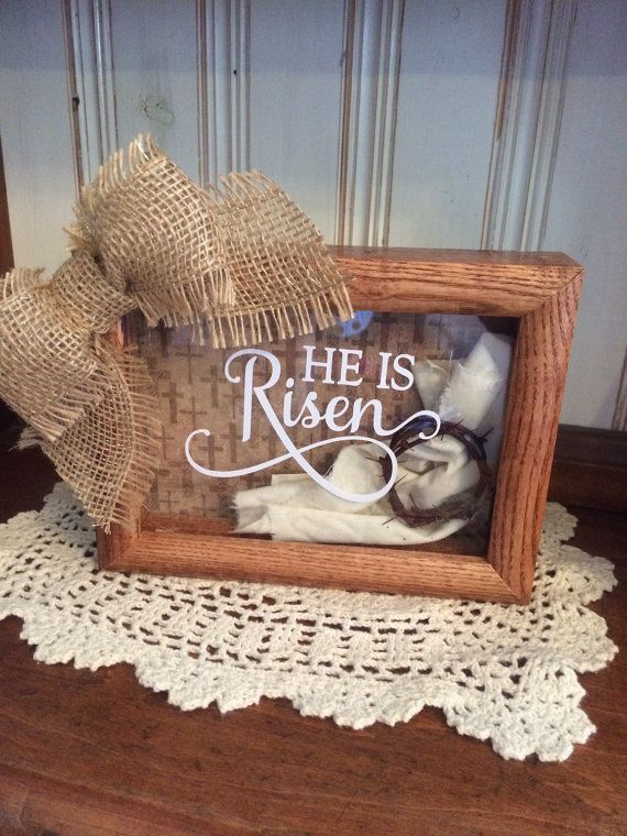 He Is Risen 5 x 7 Wooden Shadow Box with Shroud by milliesattic123