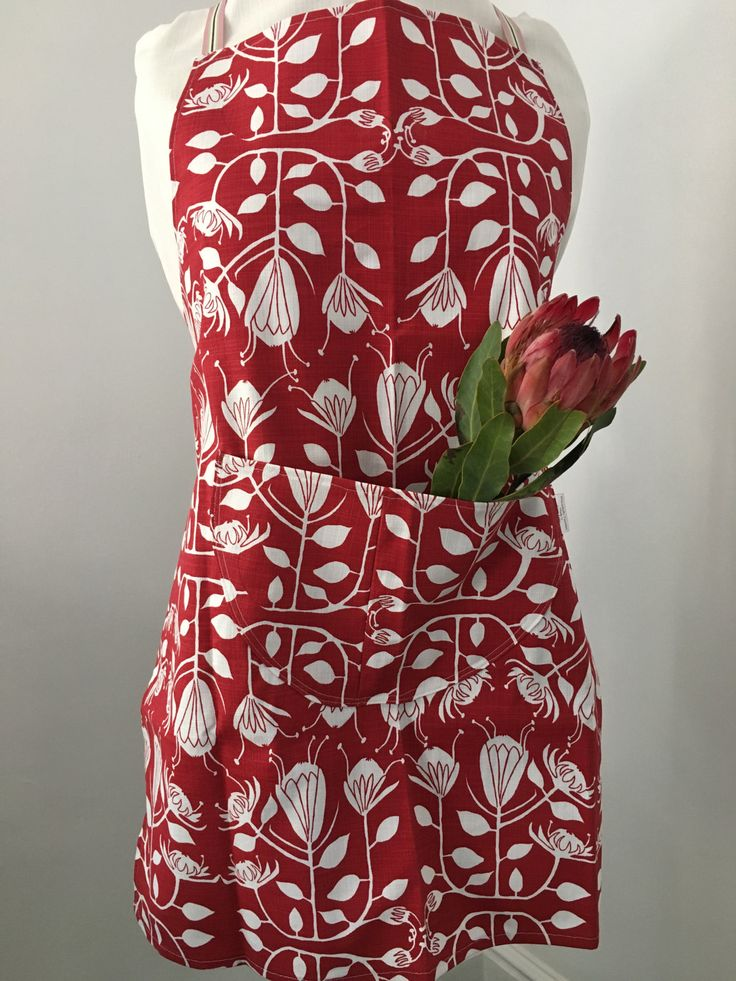 Lipstick Red Protea Apron by MaradadhiTextiles on Etsy