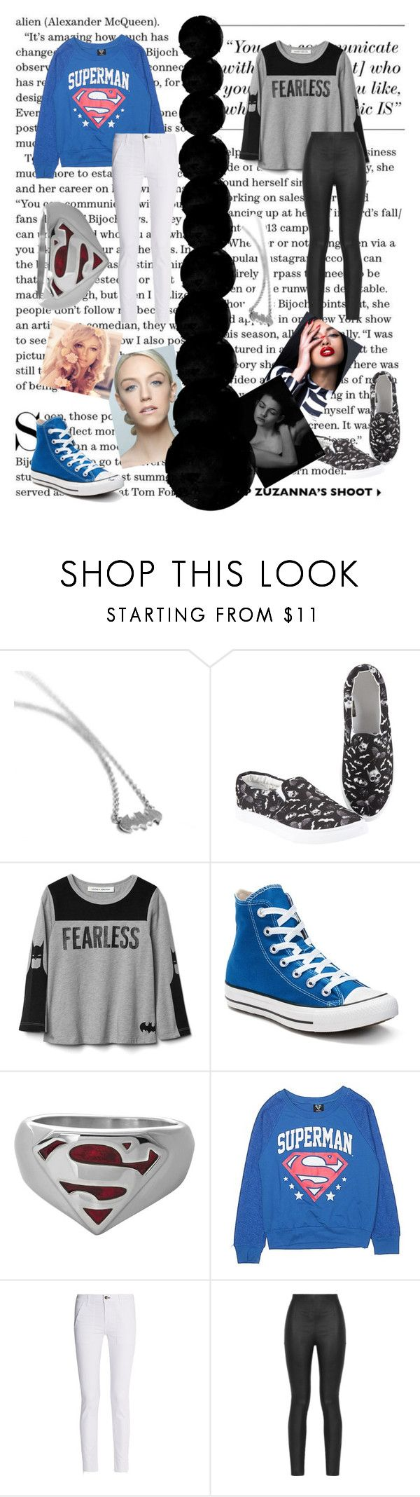 """Batman vs superman"" by paisleydpatch ❤ liked on Polyvore featuring Metal Mixology, Hot Topic, Converse, rag & bone, Armani Jeans and De Lacy"
