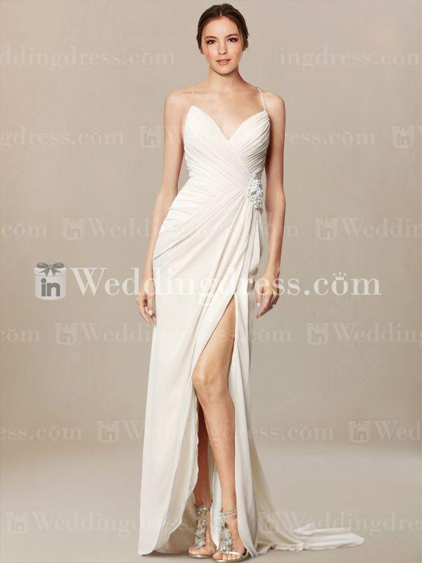 Beach Wedding Dress with Low Open Back. Re-pin if you like. Via Inweddingdress.com #beachweddingdress